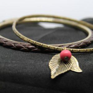 accessoire bracelet vintage feuille cuir 14 frip in shop