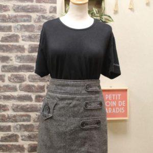 jupe vintage femme laine grise ecusson boutons frip in shop