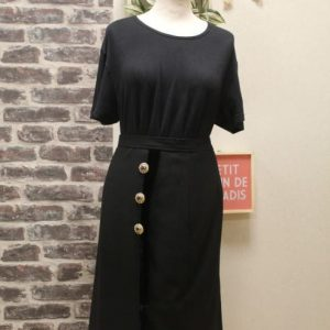 jupe vintage femme laine noire velours boutons dores valentino frip in shop