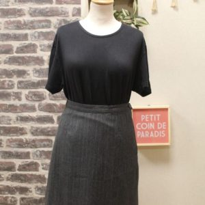 jupe vintage femme tailleur laine grise rayures marella frip in shop