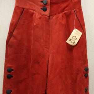 short vintage femme cuir rouge boutons noir frip in shop
