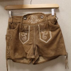 short vintage femme daim marron lacet frip in shop
