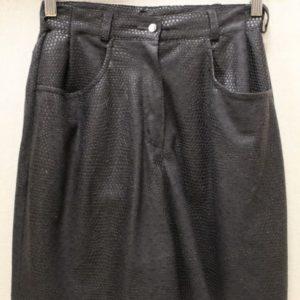 short vintage femme noir empiecement simili cuir frip in shop
