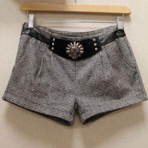 short vintage femme petits carreaux noirs blancs ceinture velours crane frip in shop