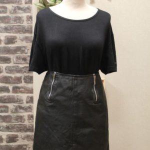 jupe vintage cuir zip sur cote frip in shop