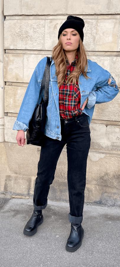 veste vintage jean unisexe ecusson frip in shop