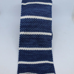 cravate vintage tricot bleu blanc rayures frip in shop