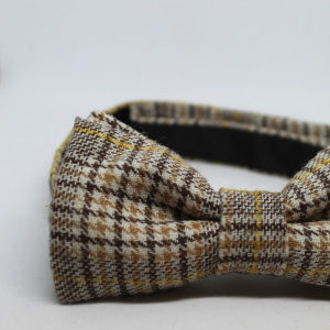 noeud papillon vintage tweed marron beige detail frip in shop