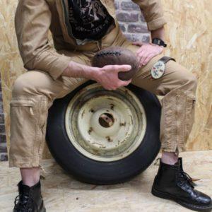 combinaison vintage aviateur beige mannequin frip in shop