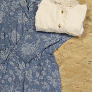 combinaison vintage femme fleurs bleu blanc frip in shop