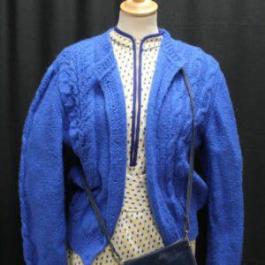 gilet vintage maille epaule bouffante bleu electrique frip in shop