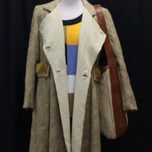 manteau vintage beige imprime floral col fourrure frip in shop