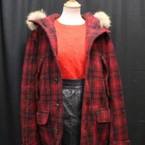 manteau vintage carreaux rouge noir woolrich frip in shop