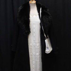 manteau vintage laine noir et col fourrure frip in shop