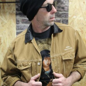 veste vintage jean marron col cuir mannequin frip in shop