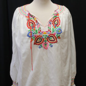 chemisier vintage blanc manches longues broderies multicolores frip in shop