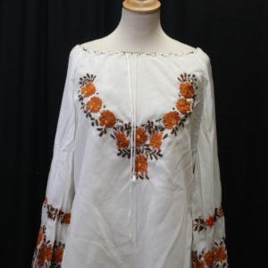 chemisier vintage blanc manches longues fleurs brodees marron frip in shop