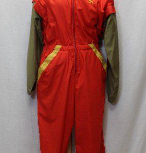 combinaison vintage vert kaki rouge puma tenue frip in shop