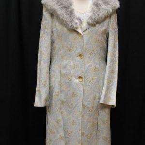 manteau vintage gris col fourrure motifs bleu ciel dore frip in shop