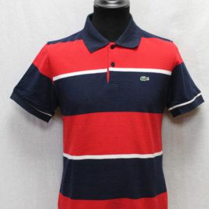 polo sportswear rayures bleu marine rouge blanc lacoste frip in shop