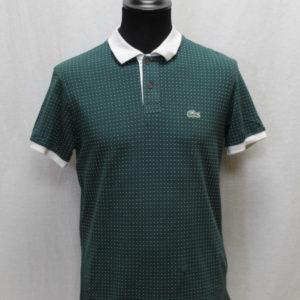 polo sportswear vert sapin pois blanc lacoste frip in shop