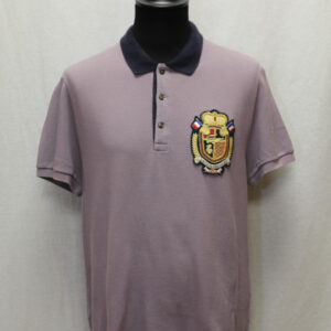 polo vintage mauve lacoste ecusson frip in shop