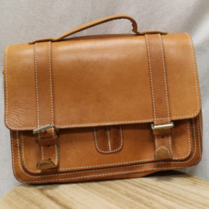 cartable homme vintage en cuir camel frip in shop