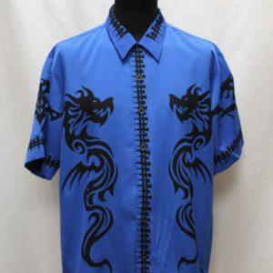 chemise bleue dragon noir frip in shop