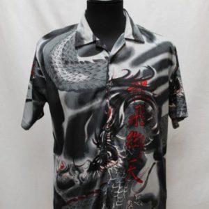 chemise flammes gris noir ecriture japon rouge frip in shop