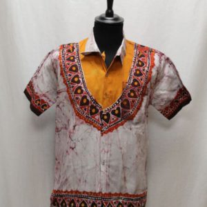 chemise homme africaine gris orange rouge frip in shop