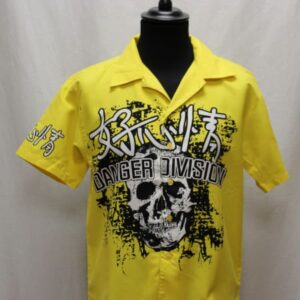 chemise jaune tete de mort noir blanc frip in shop