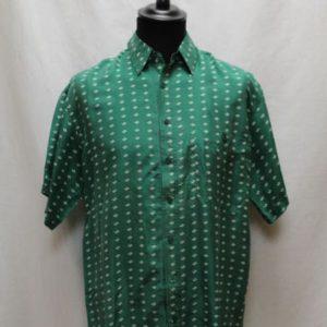 chemise vintage soie vert motifs pas blancs frip in shop