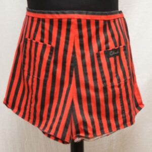 short vintage court rouge rayures noires club frip in shop