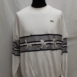 sweat blanc bandes bleues marines lacoste frip in shop