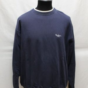 sweat bleu marine col blanc pepe jeans frip in shop