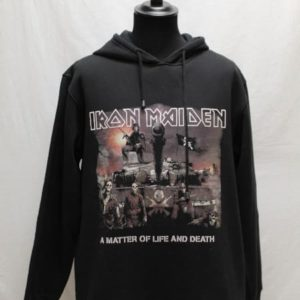 sweat noir capuche iron maiden tete de mort frip in shop