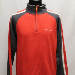 sweat sportswear col zip rouge gris blanc champion frip in shop