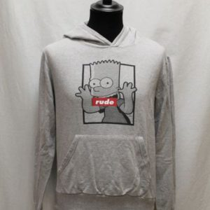 swear vintage capuche gris simpsons rude frip in shop