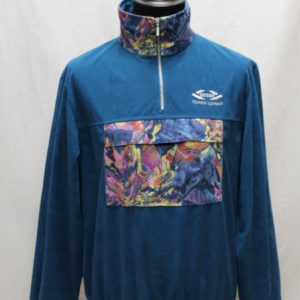 sweat vintage col zip bleu canard poche kangourou frip in shop
