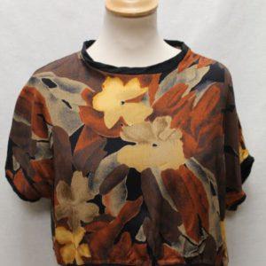 top court manches courtes marron fleurs frip in shop