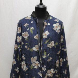 veste vintage velours bleu motifs fleurs frip in shop