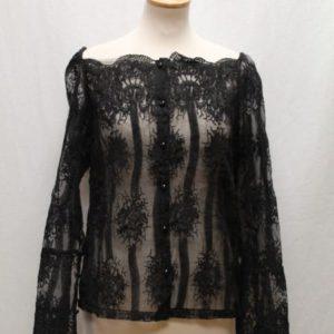 chemisier vintage manches longues crochet noir frip in shop