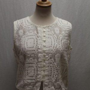 chemisier vintage sans manches crochet blanc frip in shop
