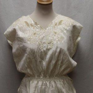 chemisier vintage satine blanc fleurs taille resserree frip in shop