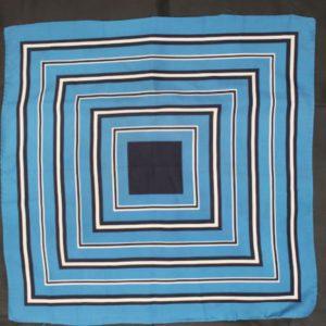 foulard vintage carre bleu noir blanc frip in shop