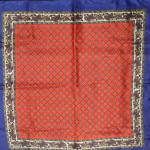 foulard vintage carre rouge bleu rond fleurs frip in shop