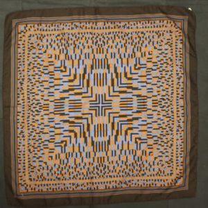 foulard vintage imprime marron bleu frip in shop