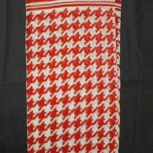 foulard vintage imprime pied de coq rouge blanc frip in shop