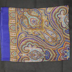 foulard vintage long imprime cachemire bleu ocre frip in shop