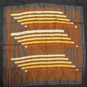 foulard vintage marron lignes blanches bleues frip in shop